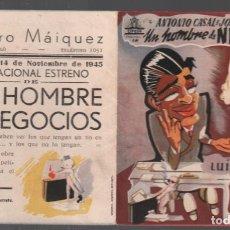 Flyers Publicitaires de films Anciens: UN HOMBRE DE NEGOCIOS - PROGRAMA DOBLE DE CIFESA CON PUBLICIDAD RF-1981. Lote 145562786