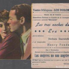 Cine: LAS TRES NOCHES DE EVA PROGRAMA DOBLE TROQUELADO CB FILMS CON PUBLICIDAD RF-1982 . Lote 145563086
