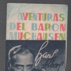 Cine: LAS AVENTURAS DEL BARON MUCHAUSEN PROGRAMA DOBLE UFA CON PUBLICIDAD RF-1991 , BUEN ESTADO. Lote 145564934