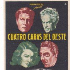 Flyers Publicitaires de films Anciens: CUATRO CARAS DEL OESTE CON JOEL MCCREA, FRANCES DEE, CHARLES BIKFORD AÑO 1958 CON PUBLICIDAD. Lote 145579286