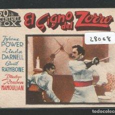 Cine: EL SIGNO DEL ZORRO - FORMATO PEQUEÑO 8 X 6,5 CM. - TYRONE POWER - LINDA DARNELL. Lote 145975946