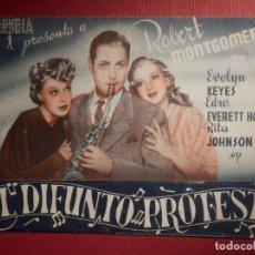 Cine: FOLLETO DE MANO CINE - PELÍCULA FILM - EL DIFUNTO PROTESTA - EUTERPE . Lote 146179754