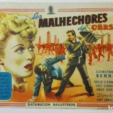 Cine: FOLLETO DE CINE, LOS MALHECHORES DE CARSIN, ORIGINAL, SIN PUBLICIDAD . Lote 146330946