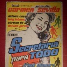 Cine: FOLLETO DE MANO CINE - PELÍCULA FILM - SECRETARIA PARA TODO - SIN PUBLICIDAD. Lote 146396482