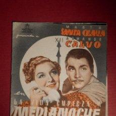 Cine: FOLLETO DE MANO CINE - PELÍCULA FILM - LA VIDA EMPIEZA A MEDIANOCHE - CINE MODERNO . Lote 146397482