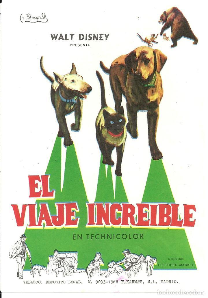 PTCC 031 EL VIAJE INCREIBLE PROGRAMA SENCILLO FILMAYER WALT DISNEY (Cine - Folletos de Mano - Infantil)