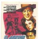 Cine: PTCC 031 EL JARDIN DEL DIABLO PROGRAMA SENCILLO 20TH CENTURY FOX SOLIGO COOPER HAYWARD AZUL. Lote 146423558