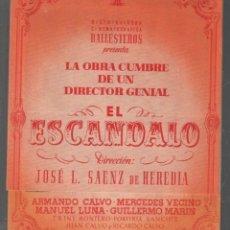 Cine: EL ESCANDALO - PROGRAMA DOBLE DE BALLESTEROS CON PUBLICIDAD AL DORSO, RF/PROGRA-2000. Lote 146472566