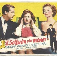 Cine: PTCC 032 EL SOLTERON Y LA MENOR PROGRAMA SENCILLO FILMOFONO CARY GRANT MYRNA LOY SHIRLEY TEMPLE AMAR. Lote 146559726