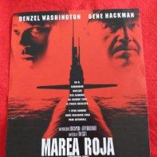 Cine: FOLLETO DE MANO. PELICULA: MAREA ROJA. CON: GENE HACKMAN Y DENZEL WASHINGTON . Lote 146599922