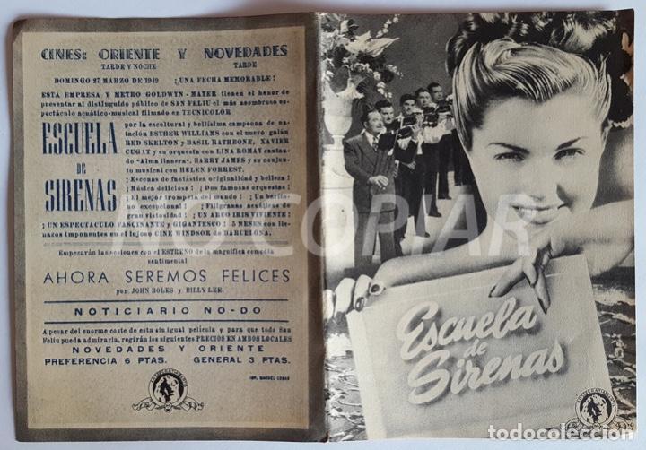 Cine: Pack 3 programas (2 sencillos y 1 díptico) de la película ESCUELA DE SIRENAS. Muy bien conservados, - Foto 3 - 146630974