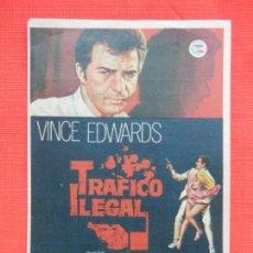 Cine: TRAFICO ILEGAL, IMPECABLE SENCILLO, VINCE EDWARDS, CON PUBLI CINE VERDI 1971. Lote 146762538