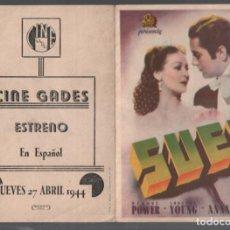 Cine: SUEZ - PROGRAMA DOBLE DE 20 TH CENTURY FOX CON PUBLICIDAD, RF-2015, BUEN ESTADO. Lote 146835698