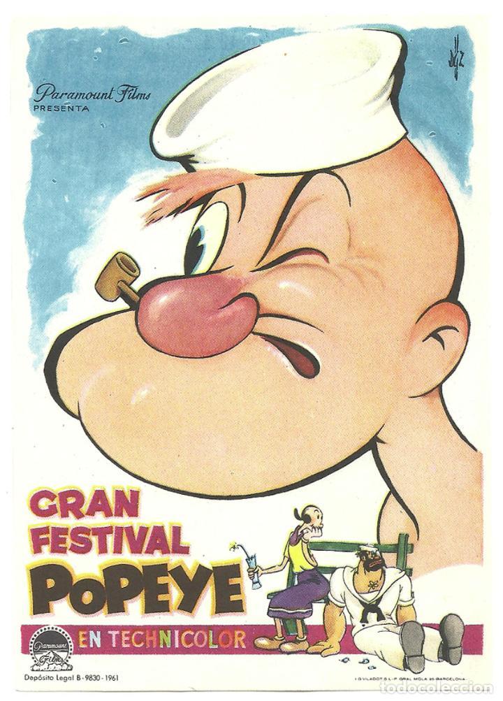 PTCC 033 GRAN FESTIVAL POPEYE PROGRAMA SENCILLO PARAMOUNT ANIMACION VERTICAL (Cine - Folletos de Mano - Infantil)