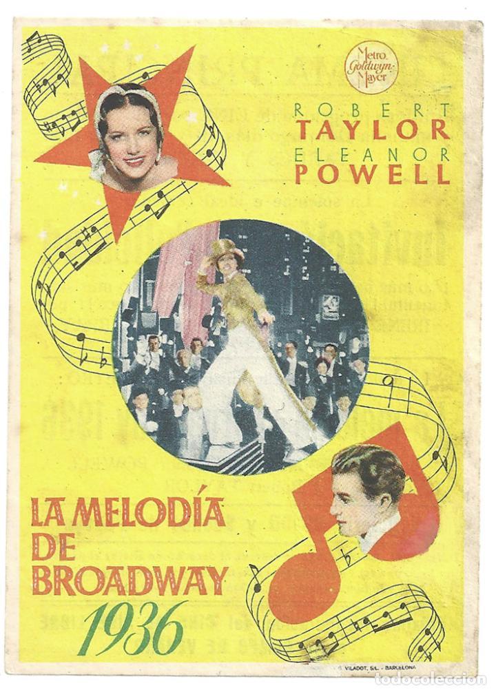 PTCC 033 LA MELODIA DE BROADWAY 1936 PROGRAMA SENCILLO MGM ROBERT TAYLOR ELEANOR POWELL JACK BENNY (Cine - Folletos de Mano - Musicales)