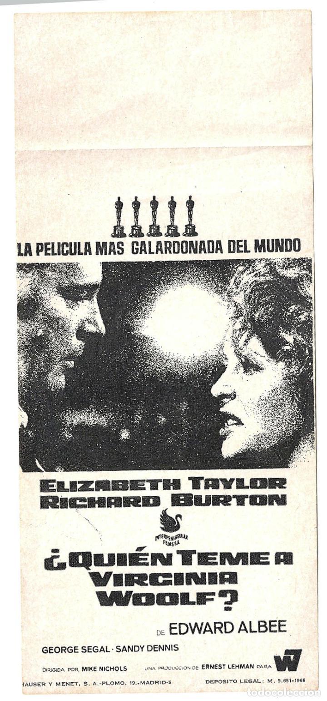 PTCC 033 QUIEN TEME A VIRGINIA WOOLF PROGRAMA SENCILLO INTERPENINSULAR ELIZABETH TAYLOR BURTON (Cine - Folletos de Mano - Infantil)