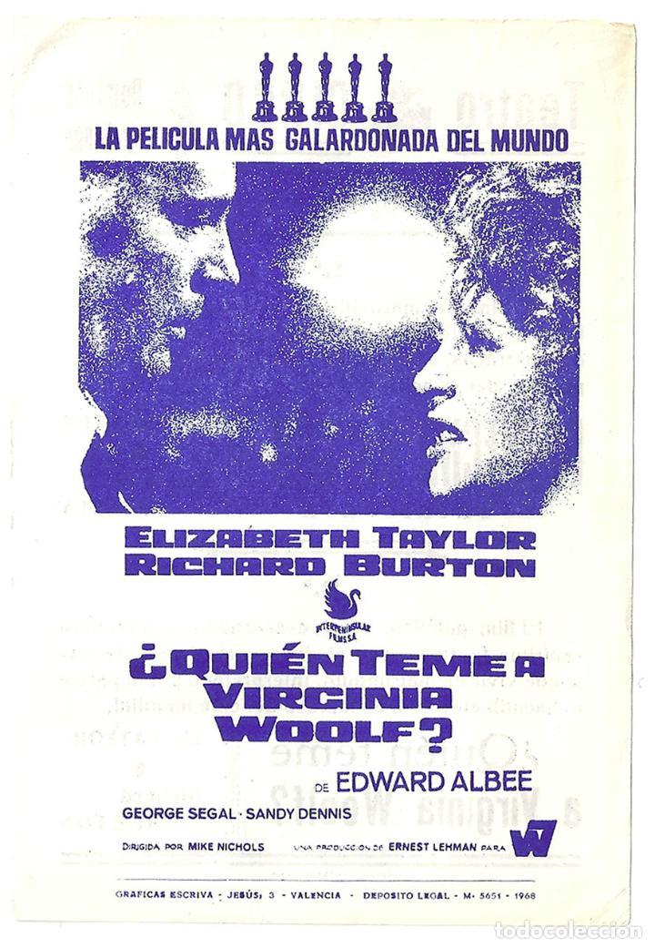 PTCC 033 QUIEN TEME A VIRGINIA WOOLF PROGRAMA SENCILLO LOCAL ELIZABETH TAYLOR RICHARD BURTON (Cine - Folletos de Mano - Drama)