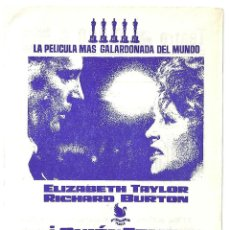 Cine: PTCC 033 QUIEN TEME A VIRGINIA WOOLF PROGRAMA SENCILLO LOCAL ELIZABETH TAYLOR RICHARD BURTON. Lote 146922858