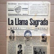 Cine: LA LLAMA SAGRADA.1931.WARNER BROTHERS.CINEMATOGRAFICA ALMIRA FILMS. . Lote 146992766