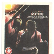 Cine: PTCC 035 YOUNG SANCHEZ PROGRAMA SENCILLO AS FILMS BOXEO CINE ESPAÑOL JULIAN MATEOS IGNACIO F. IQUINO. Lote 147038126