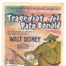 Cine: PTEB 055 TRAGEDIAS DEL PATO DONALD PROGRAMA SENCILLO ARAJOL WALT DISNEY A. Lote 147059094