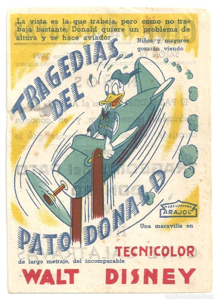 PTEB 055 TRAGEDIAS DEL PATO DONALD PROGRAMA SENCILLO ARAJOL WALT DISNEY B (Cine - Folletos de Mano - Infantil)