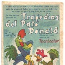 Cine: PTEB 055 TRAGEDIAS DEL PATO DONALD PROGRAMA SENCILLO ARAJOL WALT DISNEY C. Lote 147060098