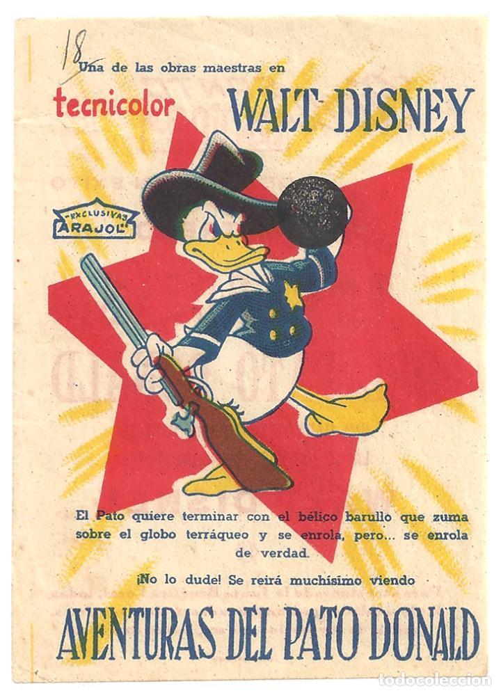 PTEB 055 AVENTURAS DEL PATO DONALD PROGRAMA SENCILLO ARAJOL WALT DISNEY (Cine - Folletos de Mano - Infantil)