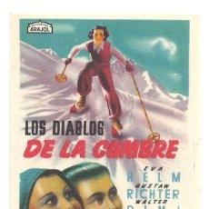 Cine: PTEB 055 LOS DIABLOS DE LA CUMBRE PROGRAMA SENCILLO ARAJOL PEQUEÑO ESQUI SKI EVA HELM. Lote 147067970