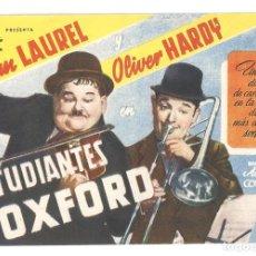 Cine: PTEB 056 ESTUDIANTES DE OXFORD PROGRAMA SENCILLO CIFESA STAN LAUREL OLIVER HARDY. Lote 147069742