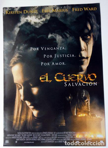 CINE DÍPTICO PELÍCULA EL CUERVO SIPNOSIS FICHA TÉCNICA Y ARTÍSTICA 21X30 CM CERRADO (Cine - Folletos de Mano - Terror)