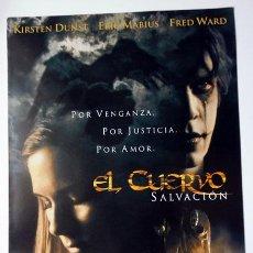 Cine: CINE DÍPTICO PELÍCULA EL CUERVO SIPNOSIS FICHA TÉCNICA Y ARTÍSTICA 21X30 CM CERRADO . Lote 147095358