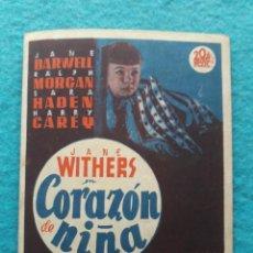 Cine: CORAZÓN DE NIÑA. JANE DARWELL, RALPH MORGAN, SARA HADEN...AÑO 1943.. Lote 147300702