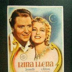 Cine: LUNA LLENA-ROBERT Z. LEONARD-JEANETTE MACDONALD-NELSON EDDY-ESTRENO-CINE ORIENTE-GERONA-1945.. Lote 147339166