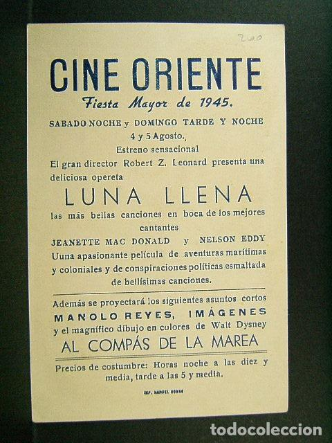 Cine: LUNA LLENA-ROBERT Z. LEONARD-JEANETTE MACDONALD-NELSON EDDY-ESTRENO-CINE ORIENTE-GERONA-1945. - Foto 2 - 147339166