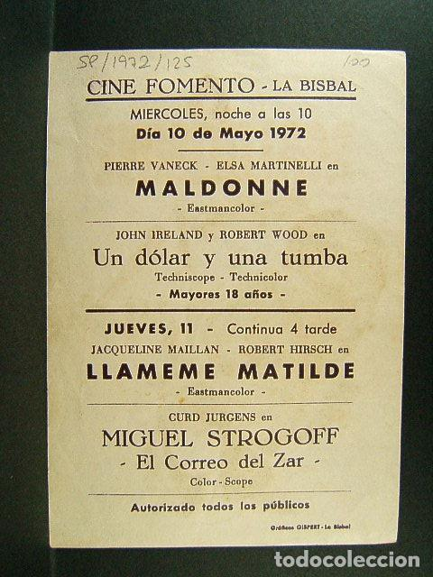 Cine: MALDONNE-SERGIO GOBBI-JEAN TOPART-PIERRE VANECK-ELSA MARTINELLI-HERMIDA-CINE FOMENTO-LA BISBAL-1972. - Foto 2 - 147370718