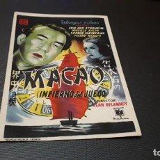 Cine: PROGRAMA DE MANO ORIG - MACAO ( INFIERNO DEL JUEGO ) - SIN CINE. Lote 147530130