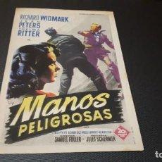 Cine: PROGRAMA DE MANO ORIG - MANOA PELIGROSAS - SIN CINE. Lote 147531158
