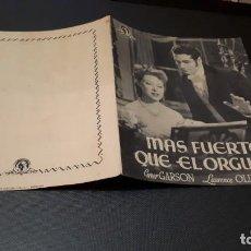 Cine: PROGRAMA DE MANO ORIG DOBLE - MAS FUERTE QUE EL ORGULLO - SIN CINE. Lote 147531638