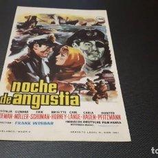 Cine: PROGRAMA DE MANO ORIG - NOCHE DE ANGUSTIA - SIN CINE. Lote 147532814