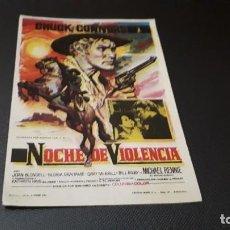 Cine: PROGRAMA DE MANO ORIG - NOCHE DE VIOLENCIA - SIN CINE. Lote 147534734