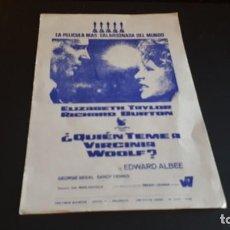 Cine: PROGRAMA DE MANO ORIG - QUIEN TEME A VIRGINIA WOLF - SIN CINE. Lote 147581442