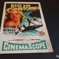 Cine: PROGRAMA DE MANO ORIG - RIO SIN RETORNO - SIN CINE. Lote 147583726