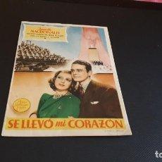 Cine: PROGRAMA DE MANO ORIG - SE LLEVO MI CORAZON - SIN CINE. Lote 147585098