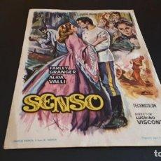 Cine: PROGRAMA DE MANO ORIG - SENSO - SIN CINE. Lote 147585466