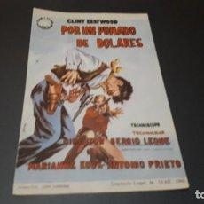 Cine: PROGRAMA DE MANO ORIG - POR UN PUÑADO DE DOLARES - SIN CINE. Lote 147639150