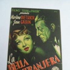 Cine: LA BELLA EXTRANJERA MARLENE DIETRICH FOLLETO DE MANO ORIGINAL ESTRENO . Lote 147720342