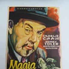 Cine: MAGIA NEGRA CHARLIE CHAN FOLLETO DE MANO ORIGINAL ESTRENO PERFECTO ESTADO. Lote 147720746