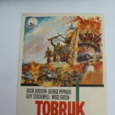 Cine: TOBRUK ROCK HUDSON GEORGE PEPPARD FOLLETO DE MANO ORIGINAL ESTRENO PERFECTO ESTADO. Lote 147722526