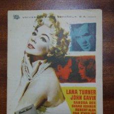 Cine: PROGRAMA DE CINE 1961 IMITACION A LA VIDA - LANA TURNER - JOHN GAVIN. Lote 147738998